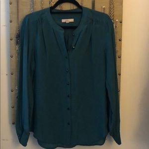 100% silk button down blouse